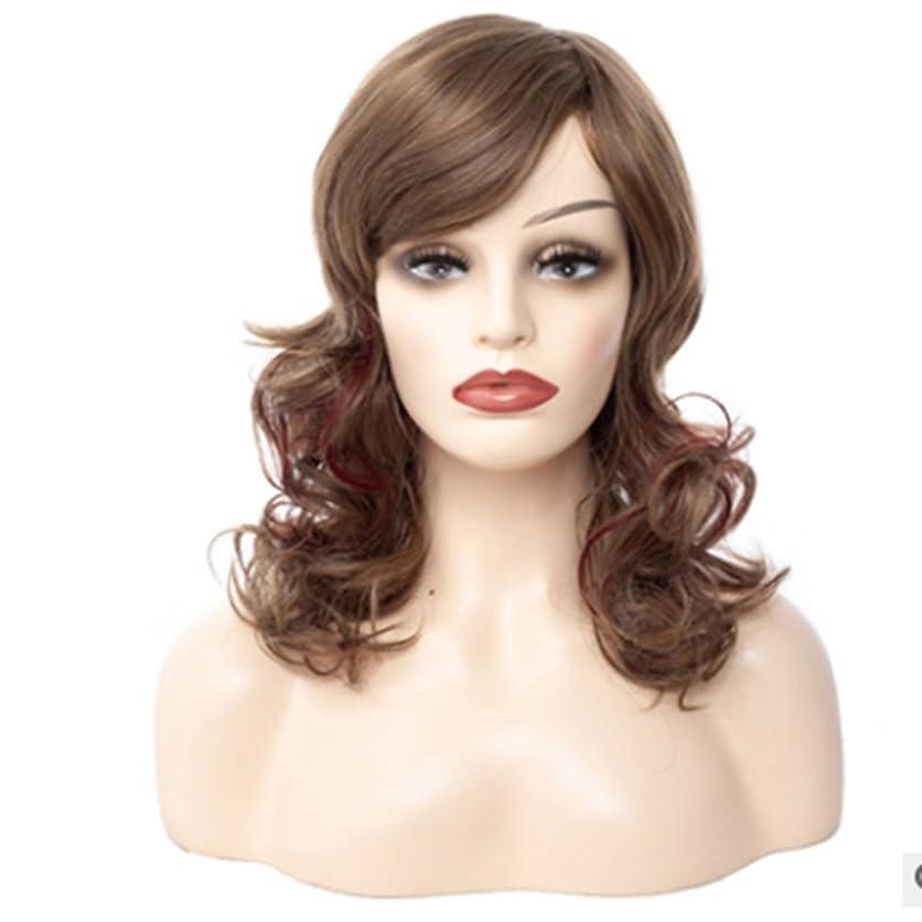 マーキーエッセイ受け皿Doyvanntgo 60cm女性の長いカーリーウィッグ斜めのつま先で自然なふわふわ茶色の偽のショーホワイトコンプレッション (Color : ブラウン)