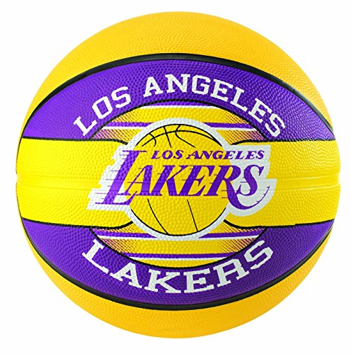 Spalding - Pallone da basket Nba Team L.a. Lakers, unisex adulto, Basket., 3001587013215, giallo, viola, 5