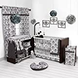 Bacati - Classic Damask White/Black 10 Pc Crib Set Including Bumper Pad 100 Percent Cotton.