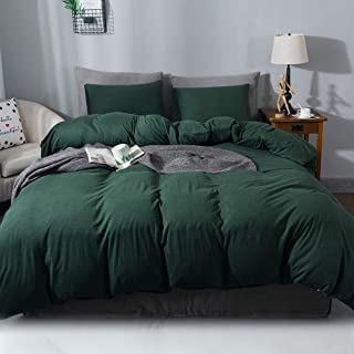 Sincethen Green Duvet Cover, Jersey Knit Cotton Duvet Cover Set 3 Pieces, 1 Duvet Cover and 2 Pillow Cases, Simple Solid Color Design, Super Soft Bedding Set and Easy Care (Queen, Dark Green)