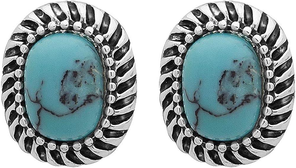 Chaps Women's Oval Stud Earrings, Blue