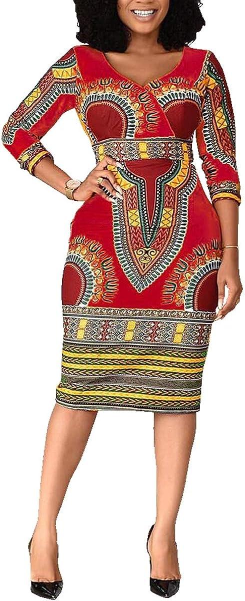 VERWIN Mid-Calf V Neck Three Quarter Sleeve Print Women's Bodycon Dress African Midi Dress