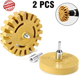 Linidi Rubber Eraser Wheel Decal Remover with Drill Adapter Kit 4 inch Pad Eraser Wheel,Sticker Remover Tool for Car Adhesive Remover Vinyl Decal Graphics Removal Tool 2Pcs