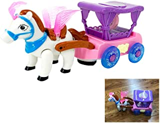 QuStars Beauty Little Winged Horse Pulling Carriage Bump-N-Go with Music & LED Lights