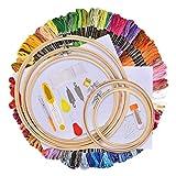 Hilos de Bordar 134 Kit, Kit Inicio de Bordado, Hisome Kit de Herramienta de Punto de Cruz, 5 Pcs Aros de Bambú, 100 Hilos de Colores, 12 x 18 Pulgadas Set de 14 Agujas y Reserva Clásica Aida y Agujas