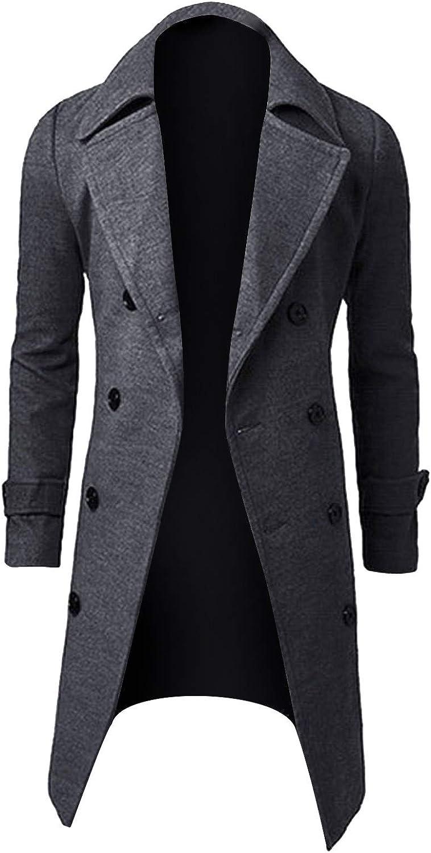 Stoota Men's Long Sleeve Lapel Down Quilted Line Flannel Jacket, Regular Fit Longline Solid Color Design Coat Warm Outwear
