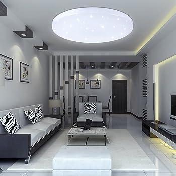 Vingo 16w Led Deckenbeleuchtung Rund Deckenlampe Starlight Effekt Schon Wohnraum Wohnzimmer Lampe Weiss Amazon De Beleuchtung