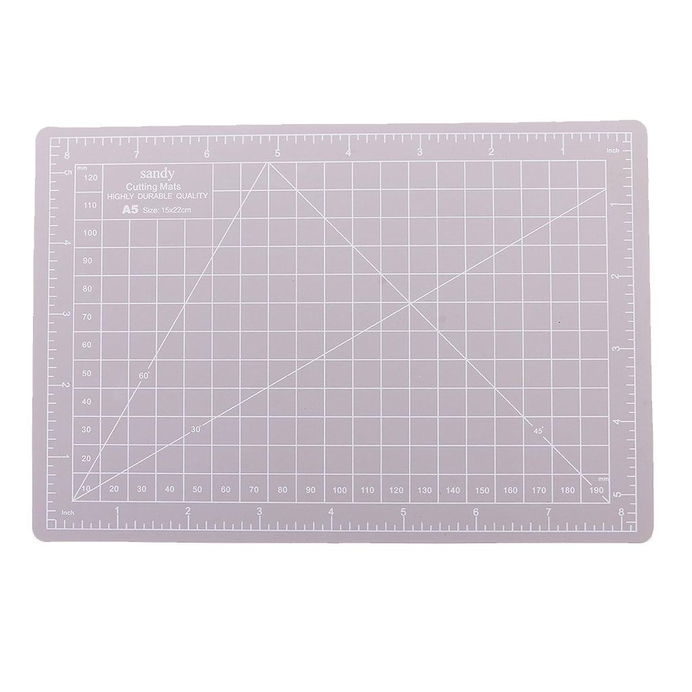 怠聖書着飾るBaosity 全5色選べる カッティングボード グリッドライン カッティングマット カード作成 A5サイズ  15x22cm   - グレー