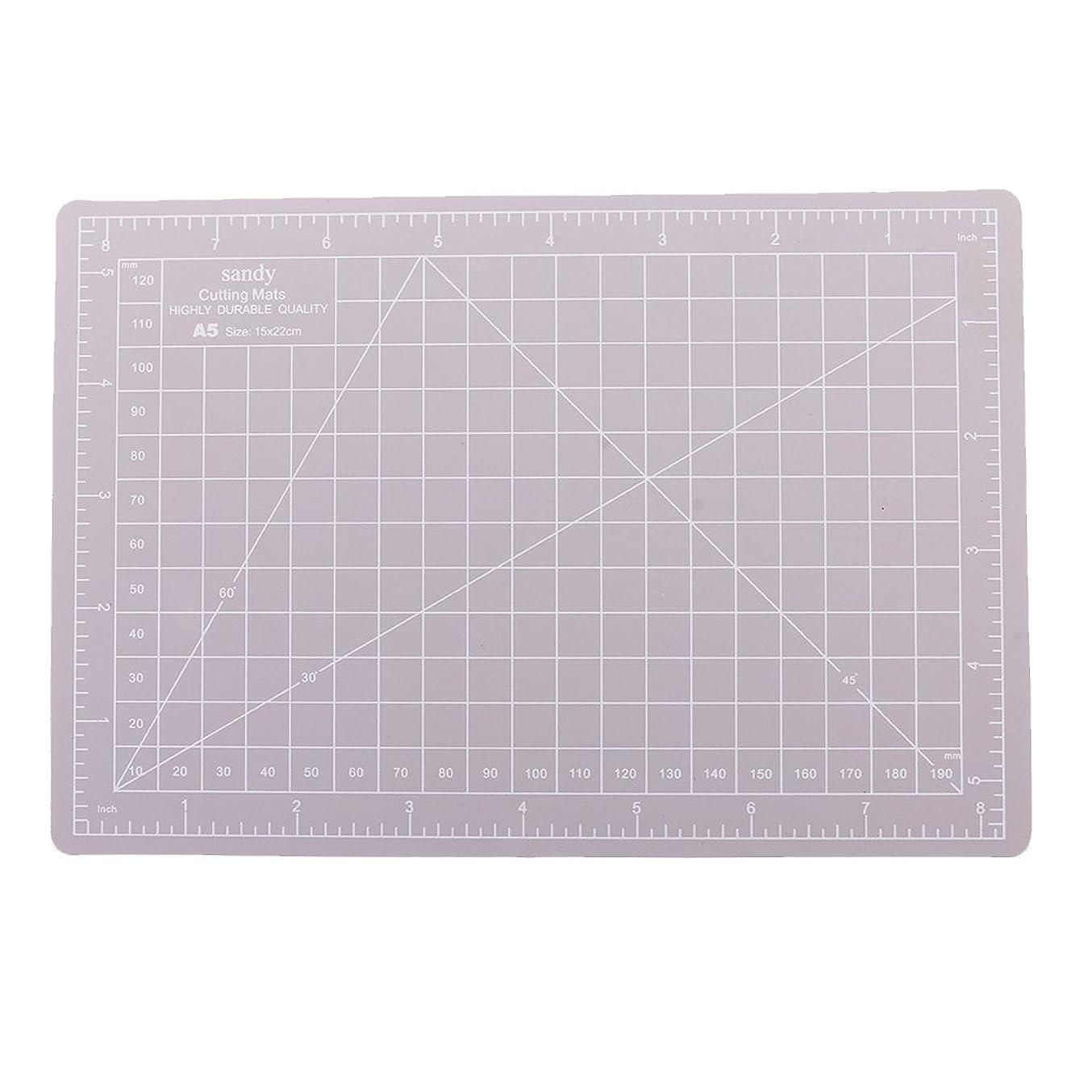 組み合わせるプラスクローンA5サイズのカッティングマットポリ塩化ビニールのまな板は工芸品15x22cmのための格子線板を印刷しました - グレー