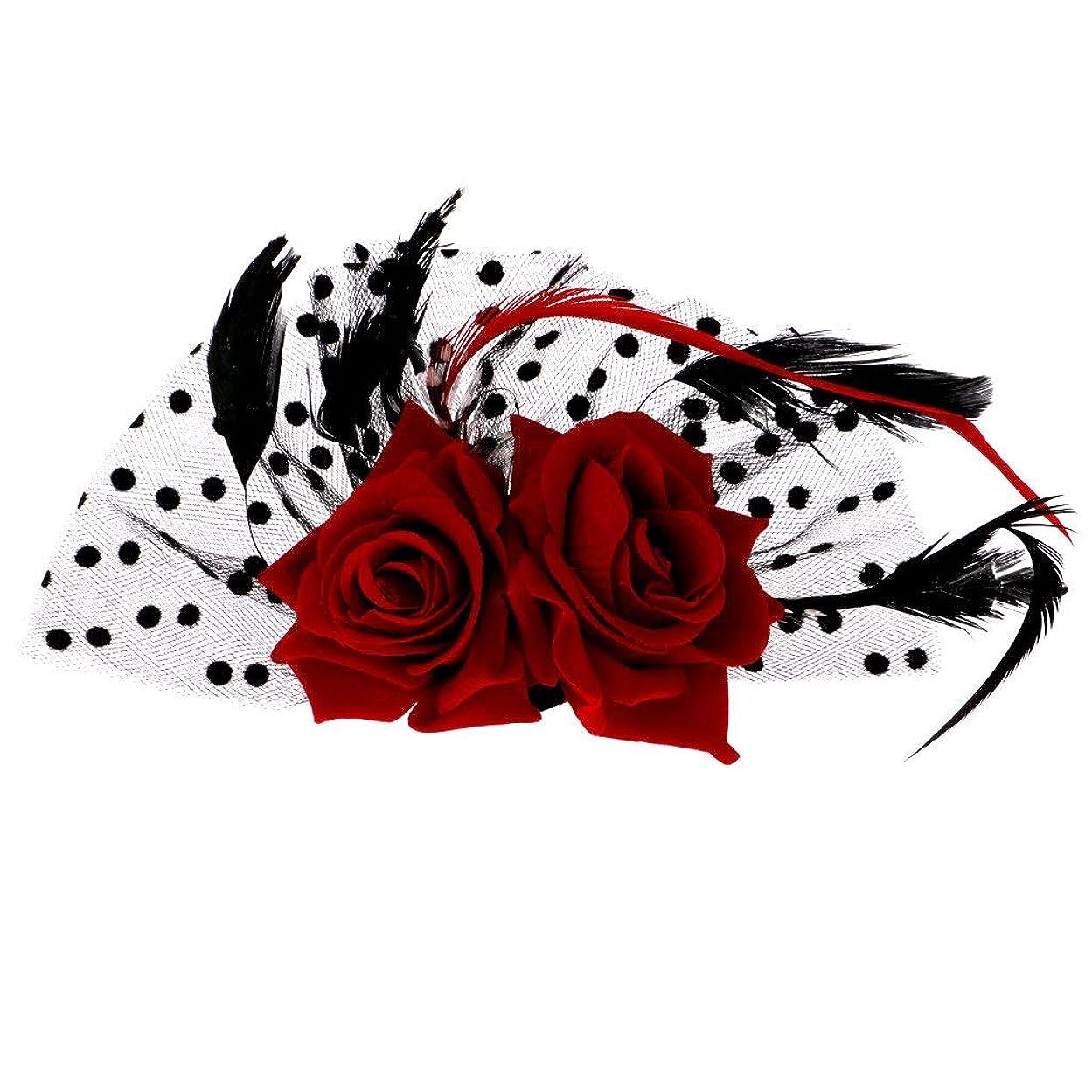 論理生き物経験的LUOSAI フラワードットヘアクリップアクセサリー帽子ウェディングパーティーの魅力的な赤いバラ
