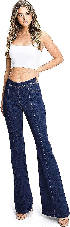 Cello Jeans Women's Junior High Rise Pull On Jegging Comfort Denim Flares