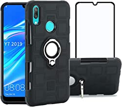 Strug for Huawei Y7 2019 Case,Dual Layer 360 Degree Rotating Kickstand Hybrid Protective Case Cover with Screen Protector for Huawei Y7 2019(Black)