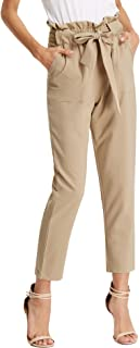 KANCY KOLE Women's Pants Casual Cropped Trousers High Waist Paper Bag Pants with Pockets S-XXL