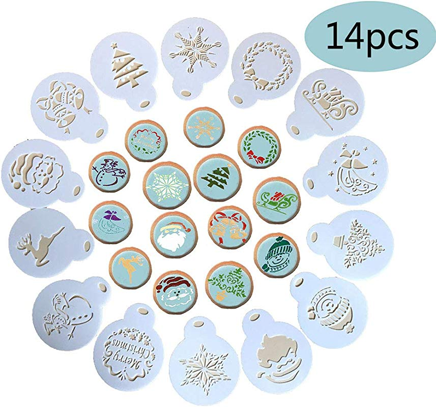 14 Pieces Christmas Cookie Stencil Cookie Decoration Tools Food Decorating Stencils For Cookies Cupcake And Fondant