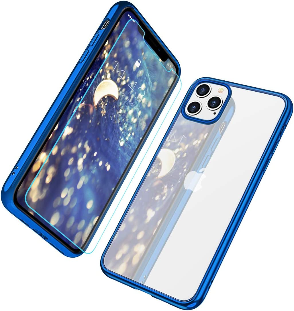 MILPROX iPhone 11 Pro Case, Clear Transparent Shockproof Shell [Free Screen Protector] with Electroplated Edge Cover Cases for iPhone 11 Pro 5.8 Inch (2019)-Blue