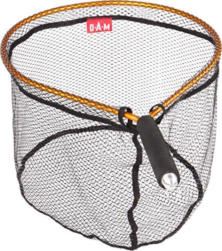 DAM Magno Fly Net, Epuisette pêche à la mouche, grip en mousse et clip magnétique, filet latex, noir