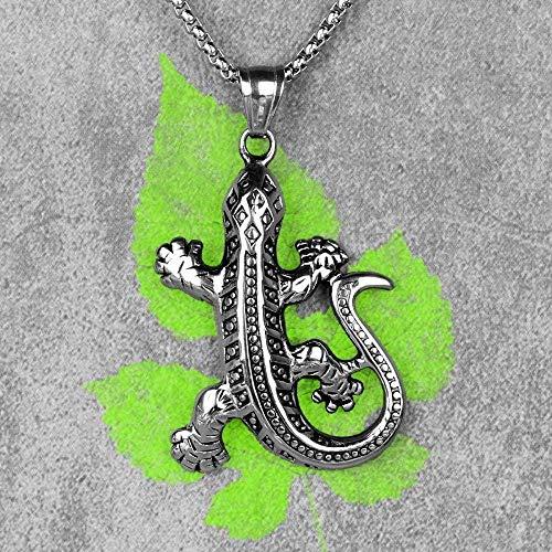 NC122 Gecko Lizard Animal Mens Collares Largos Colgantes Cadena Punk Hip Hop Único para niños Hombre Joyería de Acero Inoxidable Creatividad Regalo 60cm