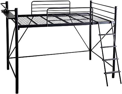 アイリスプラザ ロフトベッド ベッド 宮付き コンセント付 2口 ベッドフレーム ロフト ブラック LBSO-1525BK 220×145×153cm