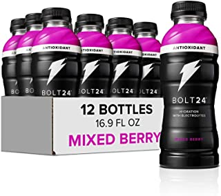 Bolt24 Fueled by Gatorade, Hydration with Antioxidants and Electrolytes, Mixed Berry, 16.9 Fl Oz, Pack of 12