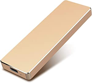Portable 1TB 2TB Hard Drive External USB3.1 Hard Drive Compatible with Mac, PC, Desktop, Laptop, MacBook, Chromebook 2TB-Golden (2TB-YOP-B5)