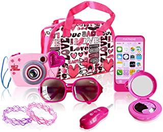 Pretend Princess Purse Set for Girls,Kids Role Play Set with Storage Bag,Cell Phone, Car Key, Play Lipstick,Camera and More,Educational Toy for Fun Learning for Girls