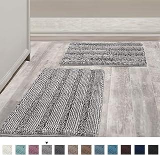 """فرشهای حمام غیرقانونی ضخیم Chenille فرشهای حمام نرم برای حمام تشکهای کف قابل جذب دیگر فرشهای حمام مخصوص اتاق آشپزخانه / اتاق نشیمن (مجموعه 2 ، 20 """"X 32"""" / 17 """"x 24"""" ، کبوتر)"""