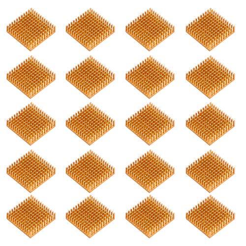 HSEAMALL Lot de 20 dissipateurs Thermiques en Aluminium 40 mm x 40 mm x 11 mm doré