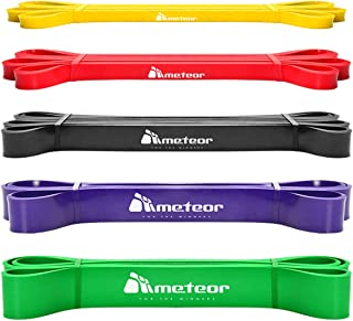 Meteor Essential Power Bands, Resistance Loop Set, Natural Latex Fitness Bands for Workout, Yoga, Weightlifting, Physical ...