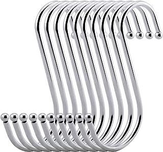 Gancho en forma de S Juego de ganchos colgantes de acero inoxidable Netspower para colgar 10 piezas perchas gancho para ropa ganchos de cocina para perchas de cocina dormitorio