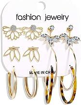Ketuan 6 Pairs Stud Earrings Hoop Set, Rhinestone Metal Earring Jacket Ear Ring Jewelry Ornaments Women Girls Valentine Birthday Party Gifts