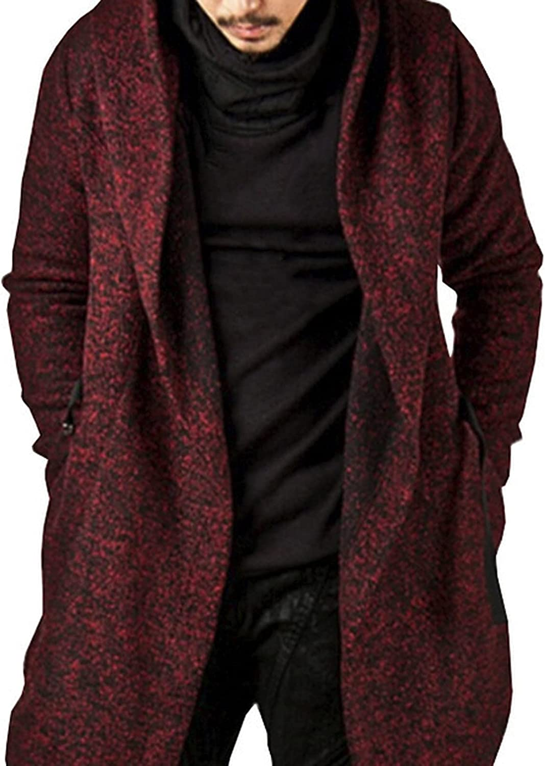 Men's Warm Hooded Windbreaker Fashion Loose Long Vintage Button Down Punk Goth Coat for Autumn Winter