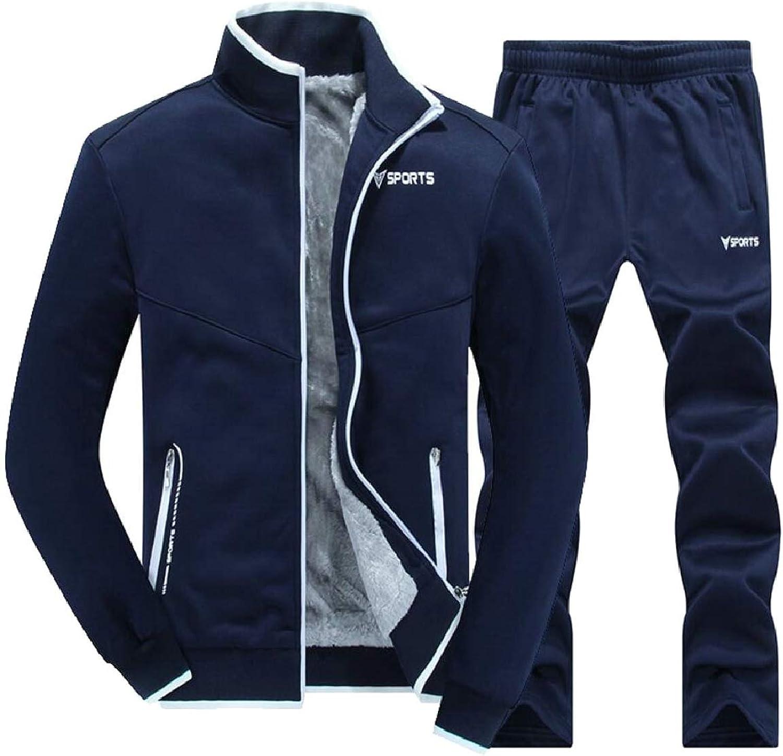 CBTLVSN Men's Zipper Winter Jacket Sweatpants Thick Jogger Faux Fur Lined Tracksuits