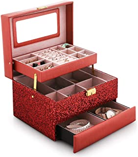 Jewelry Cases Women Princess European Sequin Earrings Ring Necklace Finishing Box,Red