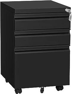 SONGMICS Armoire de bureau mobile avec roulettes et serrure, pour documents A4, format lettre, noir UOFC020B01