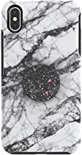 Otter + Pop for iPhone Xs Max: OtterBox Symmetry Series Case - White Marble & PopSockets Swappable PopTop - Sparkle Black