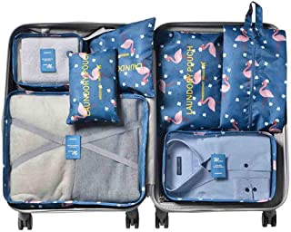 Aimixin Flamingo Travel Storage Bags Set,Travel Packing Organizers Set of 7-Pcs Traveling Accessories for Travel or Daily Use