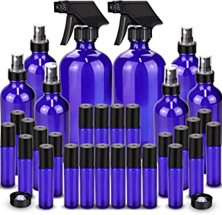 Glass Spray Bottle, Wedama 8 Glass Spray Bottle Set(16/4oz), 24 10 ml Essential Oil Roller Bottles Kits with& Accessories for Aromatherapy Facial Hydration Watering Flowers Hair Care