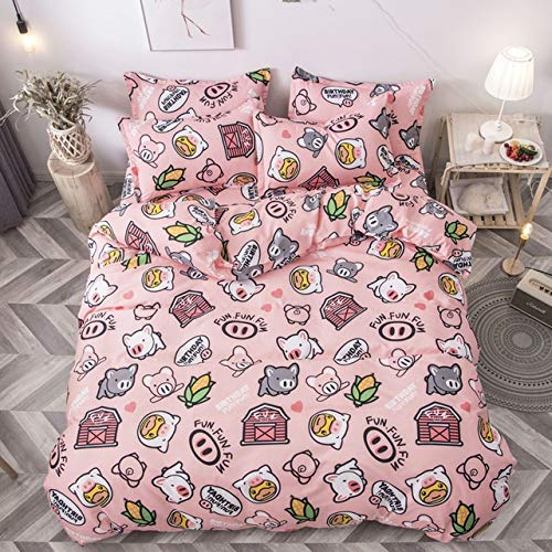 YUXO Duvet Set Bedding Sets 4pcs Cute Cartoon Flower Bedding Set Polyester Home Textile Garden Bed Sheet Quilt Cover Pillow Case Boy Girl Bedding 1024 (Color : 80115, Size : Flat Bed Sheet)