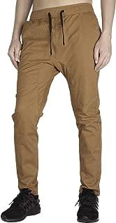 THE AWOKEN Men's Chino Jogger Pants Khaki Stretch Twill Slim Fit Sweatpants