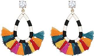 Women's Beaded Tassel Earrings Colorful Fringe Drop Dangle Bohemian Statement Earrings Water Drop Boho Earrings for Women Girls