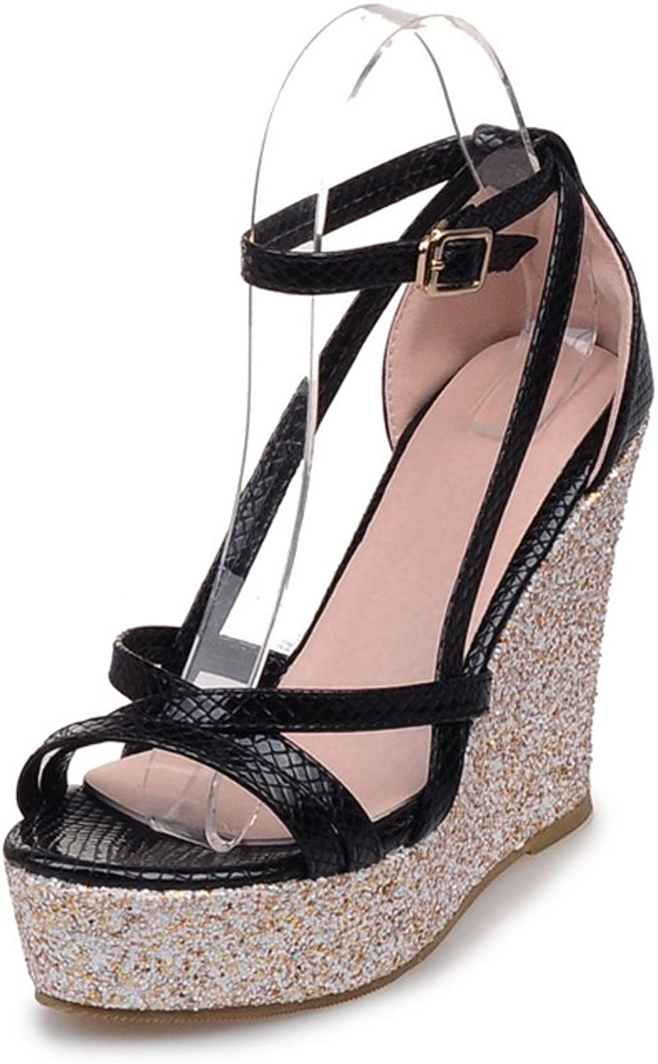 Leanna@ Summer Fashion Bohemian High Platform Wedge Snakeskin Strappy Ankle Wrap Open Toe Sandals