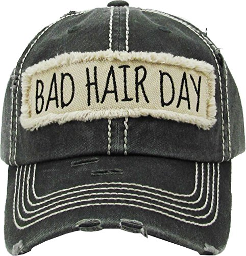 H-212-BHD06 Distressed Baseball Cap Vintage Dad Hat - Bad Hair Day Patch (Black)