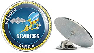 US Navy WE Build, WE Fight.CAN DO! Seabee Enlisted Military Veteran USA Pride Served Gift Metal 0.75