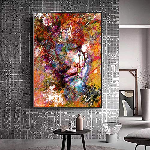 Yulernka Abstract Graffiti Art Wall Paintings Women Portrait Canvas Painting Pop Art Poster Print Picture for Living Room 30x45cm