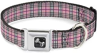 Buckle-Down Seatbelt Buckle Dog Collar - Plaid Pink - 1