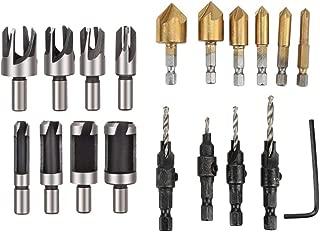 Breynet Wood Plug Cutter Drill Bit Set Straight and Tapered Taper Cutting Tool 1/4