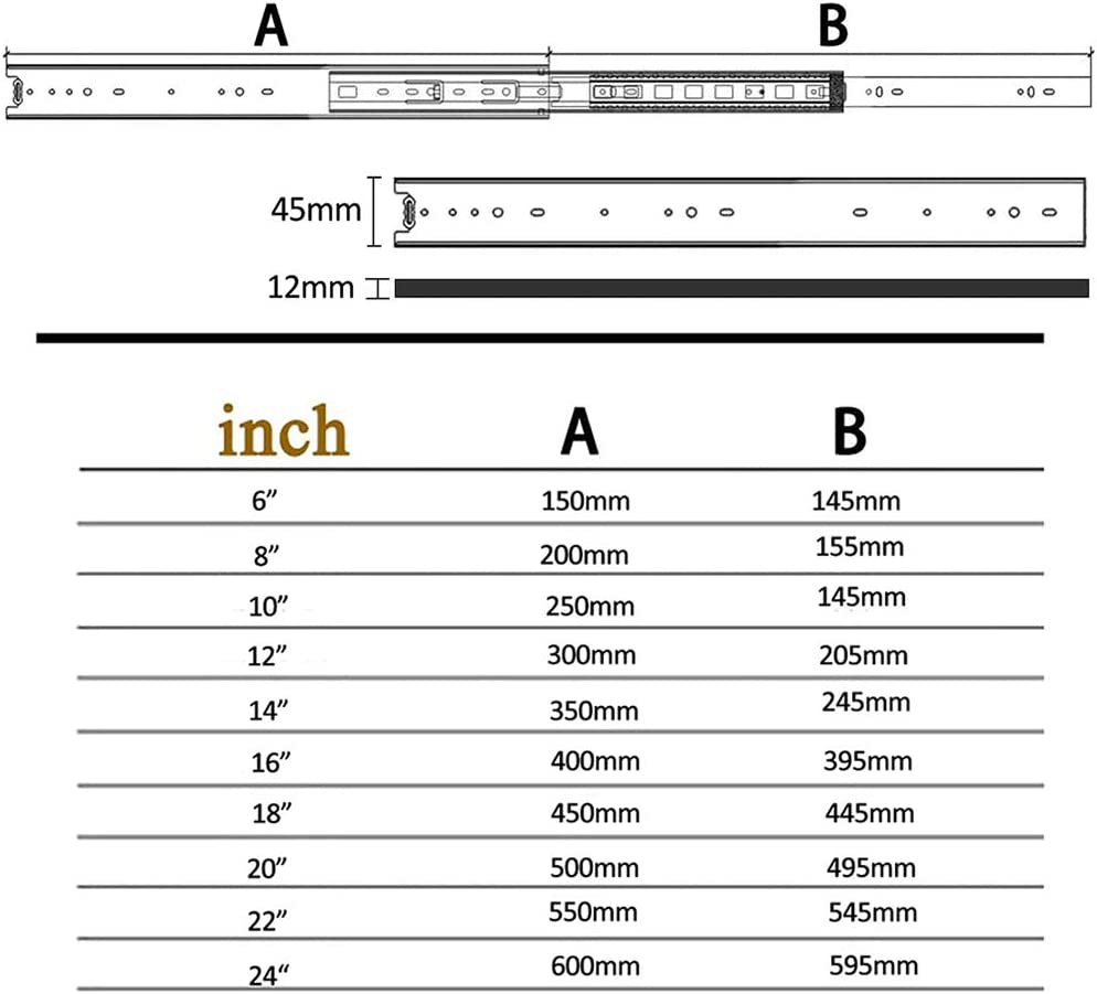 150-1000 mm JYING 1 par Gu/ías para cajones de Acero,Gu/ías silenciosas de extensi/ón Total de 3 Secciones para gabinetes de Cocina Zapateros Tama/ño 6-40 Pulgadas 110 LB ,Capacidad de Carga 45 kg