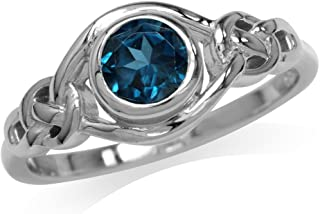Silvershake Genuine London Blue Topaz White Gold Plated 925 Sterling Silver Celtic Knot Ring