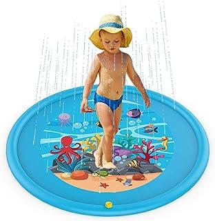 Colchoneta para rociar y salpicar, Almohadilla aspersores niños 170cm, Piscina para niños Azul, Piscina Inflable para jardín Verano al Aire Libre Juguetes el Agua diversión para bebés niños pequeños