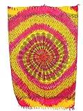 Sarong Pareo Mandala Maya II gelb-pink-rot/große Auswahl schönste Farben/Wickelrock Strandtuch Sauna-Tuch Wickelkleid Schal Wickeltuch Bademode Freizeitmode Sommermode/aus 100% Viskose
